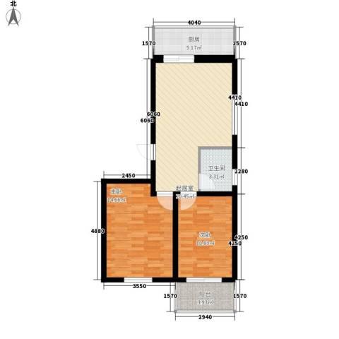 御沁园2室0厅1卫1厨86.00㎡户型图