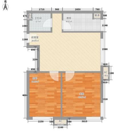 东亚上北中心2室0厅1卫1厨76.00㎡户型图