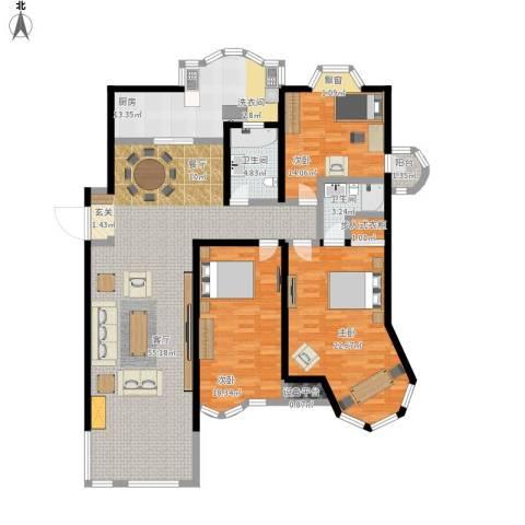 新红厦公寓3室1厅2卫1厨191.00㎡户型图