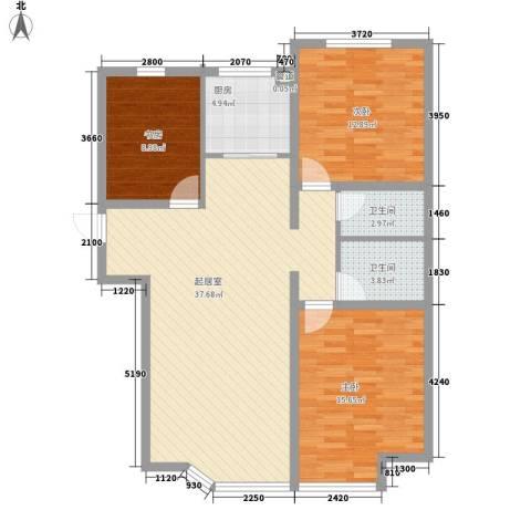 阳光上城一期-上景园3室0厅2卫1厨123.00㎡户型图