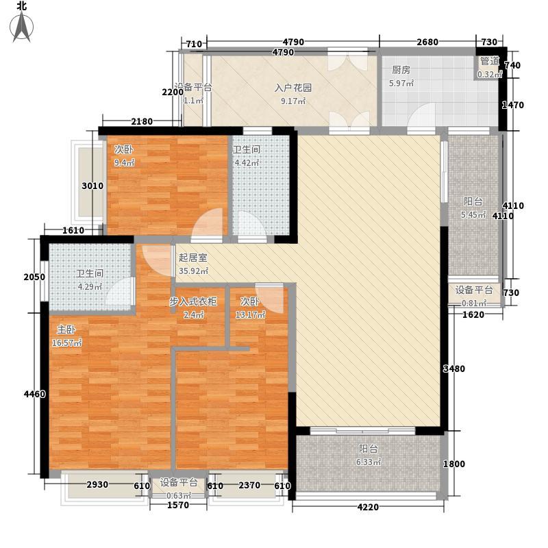 五洲花城二期135.00㎡F2户型3室2厅