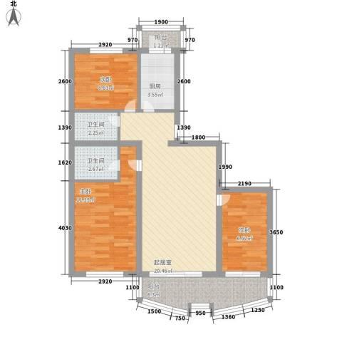 南京花园3室0厅2卫1厨90.00㎡户型图