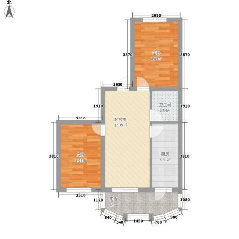 南京花园2室0厅1卫1厨64.00㎡户型图