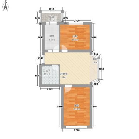 南京花园2室0厅1卫1厨53.00㎡户型图