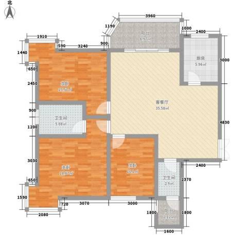 湘许嘉园3室1厅2卫1厨148.00㎡户型图