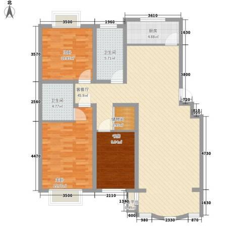 正大明泉花园3室1厅2卫1厨129.00㎡户型图