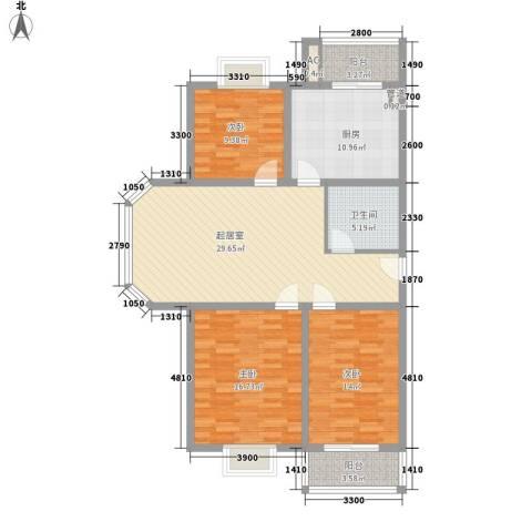 大通绿岛家园格林风尚3室0厅1卫1厨118.00㎡户型图