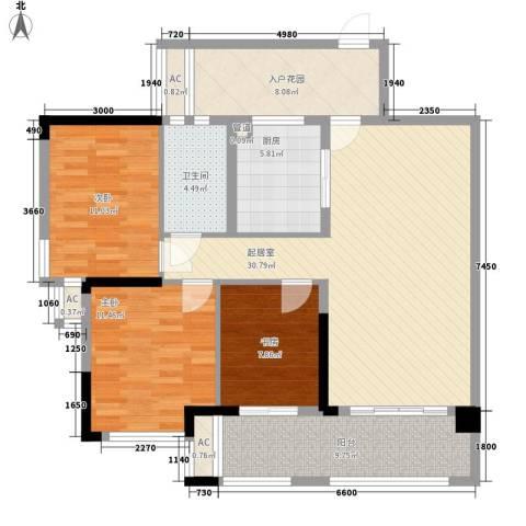 保利国际花园别墅3室0厅1卫1厨93.00㎡户型图