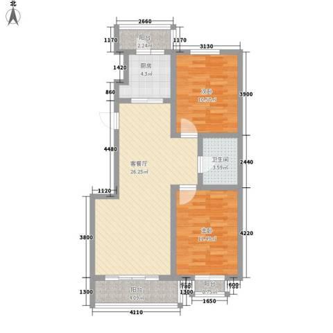 瑞赛居圣苑2室1厅1卫1厨103.00㎡户型图