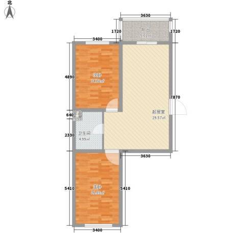 后林新村2室0厅1卫0厨80.00㎡户型图