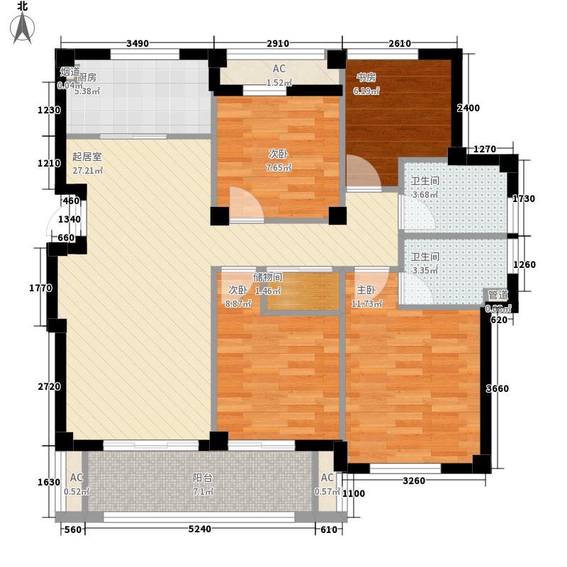 格兰郡庭123.00㎡D户型4室2厅2卫1厨