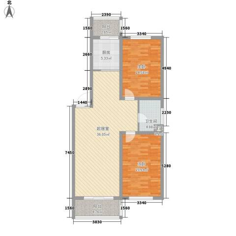 后林新村2室0厅1卫1厨95.00㎡户型图