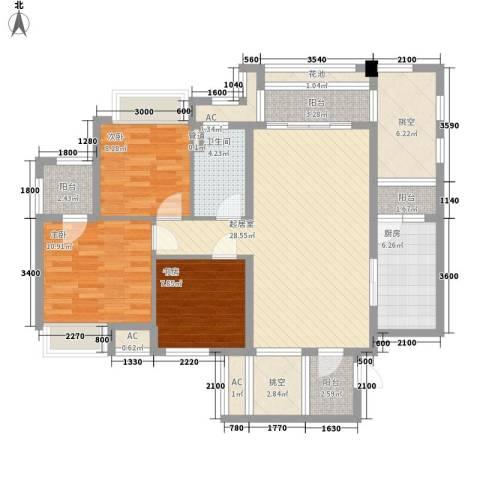 保利国际花园别墅3室0厅1卫1厨95.00㎡户型图