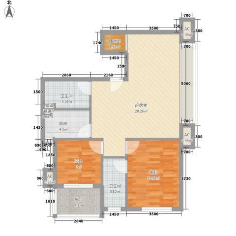 高正豪景花园2室0厅2卫1厨90.00㎡户型图