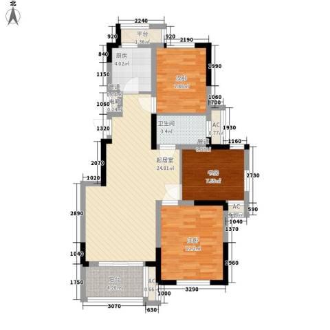 巴比伦国际广场3室0厅1卫1厨99.00㎡户型图
