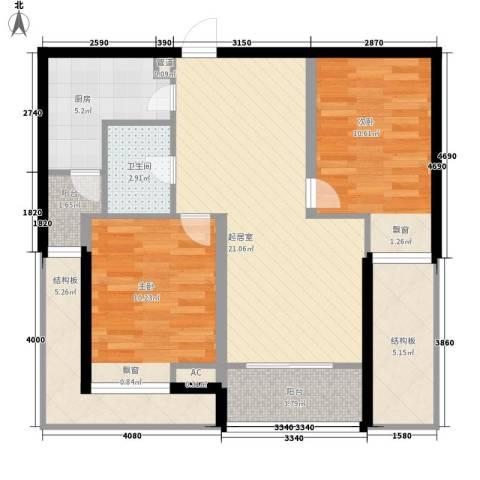 济高龙园2室0厅1卫1厨96.00㎡户型图