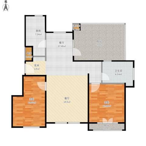 蓝湖郡2室1厅1卫1厨131.00㎡户型图