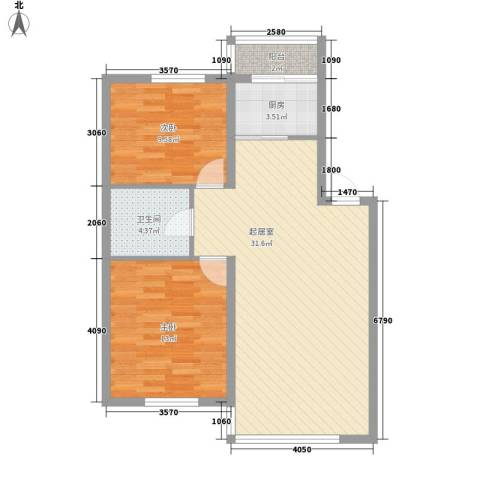 沈阔家园2室0厅1卫1厨90.00㎡户型图