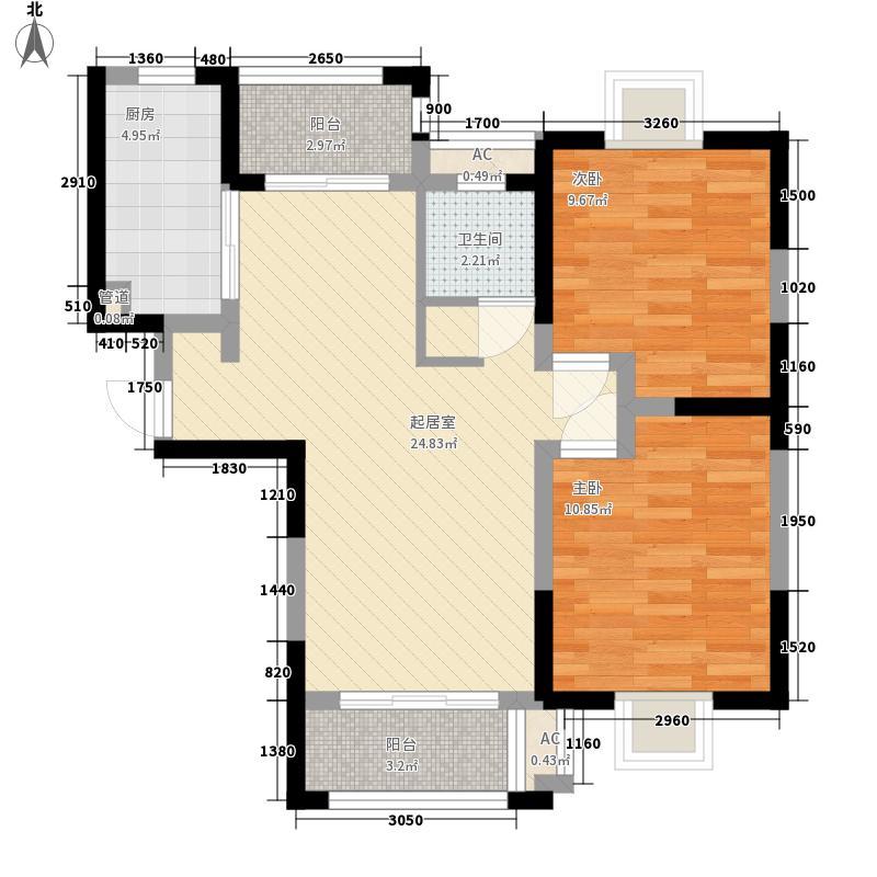 张江汤臣豪园一期88.00㎡A-户型2室2厅1卫