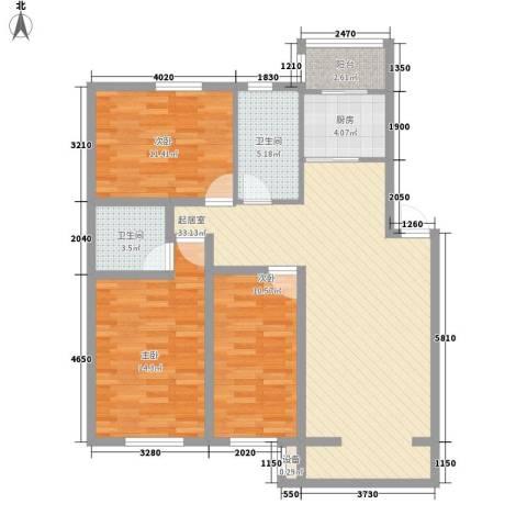 沈阔家园3室0厅2卫1厨122.00㎡户型图