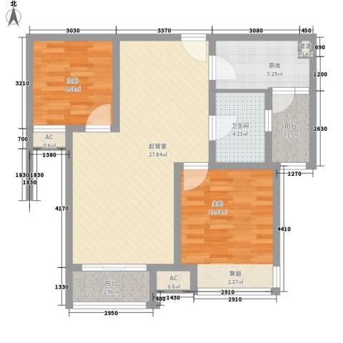 济高龙园2室0厅1卫1厨97.00㎡户型图