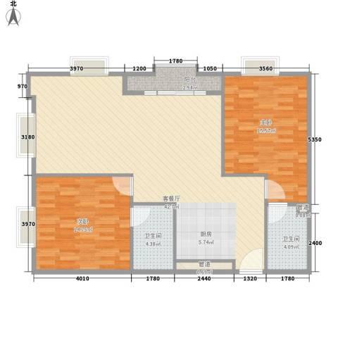 虹桥美爵酒店2室1厅2卫0厨116.00㎡户型图