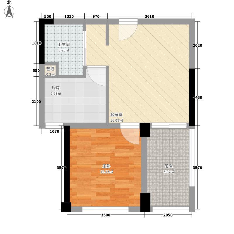 蓝光�鼎48.00㎡一期一批次1号楼A'户型1室1厅1卫1厨