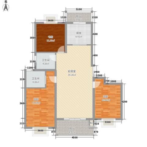 济高龙园3室0厅2卫1厨120.00㎡户型图