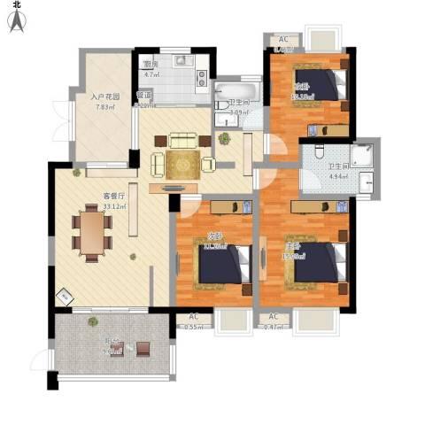 世纪城龙禧苑3室1厅2卫1厨147.00㎡户型图