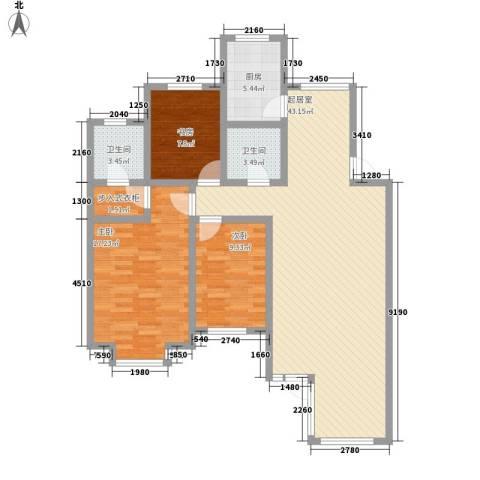 瑞赛居圣苑3室0厅2卫1厨132.00㎡户型图