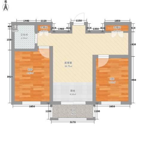 金湾山城2室0厅1卫0厨66.00㎡户型图