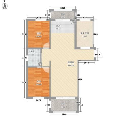 金湾山城2室0厅1卫0厨88.00㎡户型图