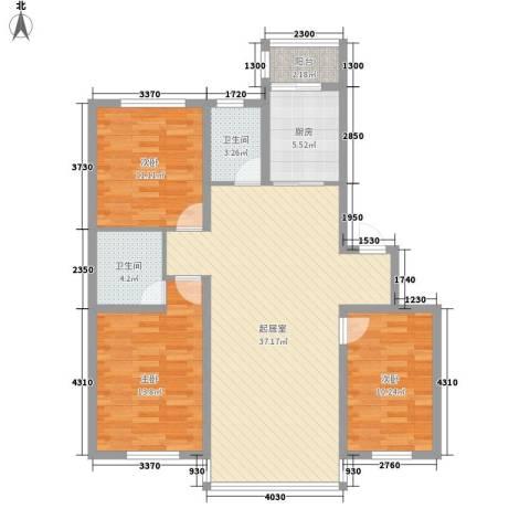 沈阔家园3室0厅2卫1厨124.00㎡户型图
