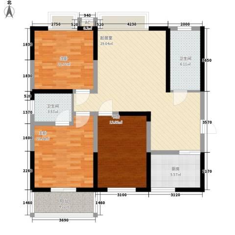 云天大厦3室0厅2卫1厨124.00㎡户型图