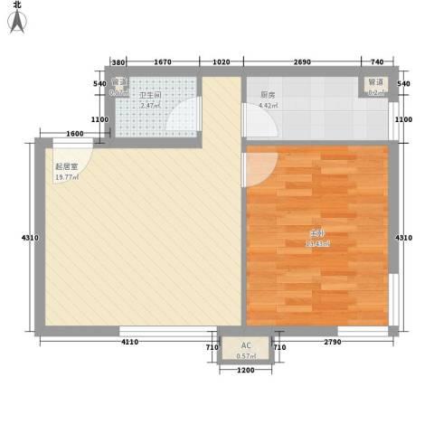东亚上北中心1室0厅1卫1厨60.00㎡户型图