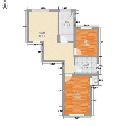 国安宜居2室0厅1卫1厨70.00㎡户型图