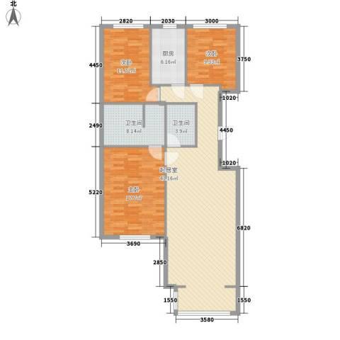 北苑家园茉藜园3室0厅2卫1厨135.00㎡户型图