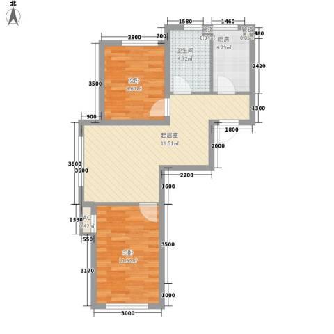 国安宜居2室0厅1卫1厨72.00㎡户型图