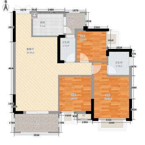 奥体中央公园3室1厅2卫1厨114.00㎡户型图