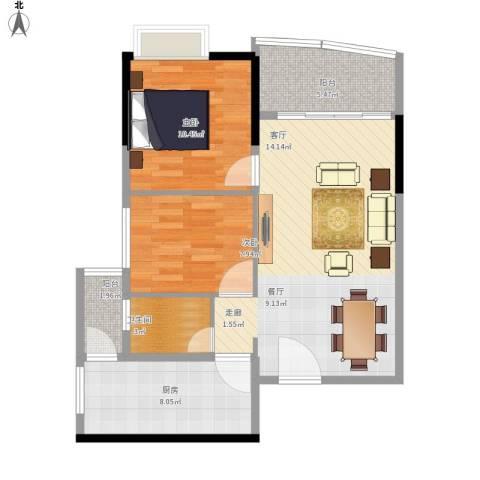 华景新城陶然庭苑2室1厅1卫1厨86.00㎡户型图