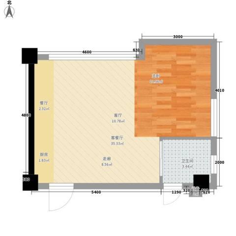 星城国际1厅1卫0厨56.00㎡户型图