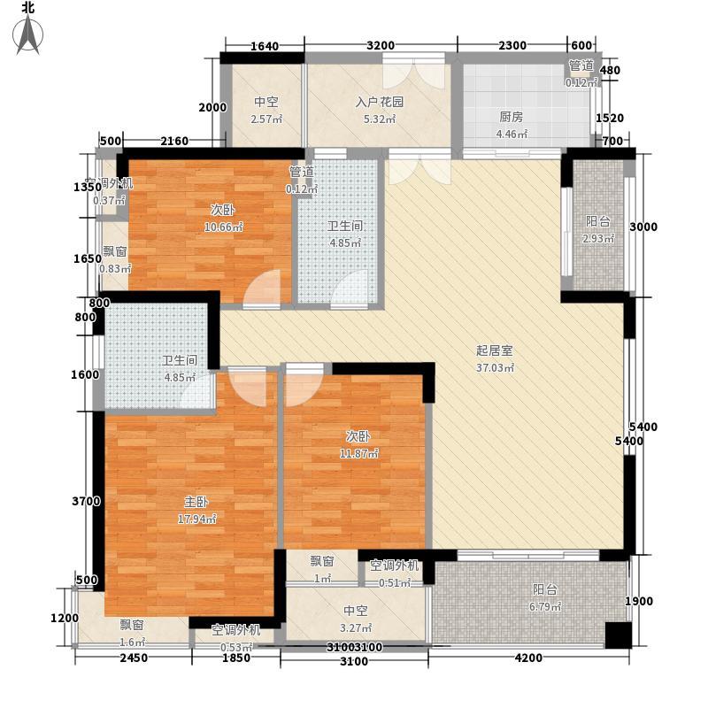 尚上名筑127.00㎡A1A2栋2-31层1单位户型3室2厅