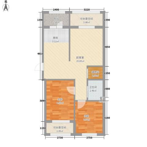 金湾山城2室0厅1卫0厨80.00㎡户型图