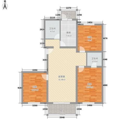 祥和尊邸3室0厅2卫1厨121.00㎡户型图