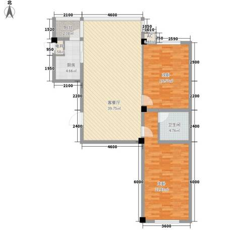 瑞阳广场2室1厅1卫1厨120.00㎡户型图