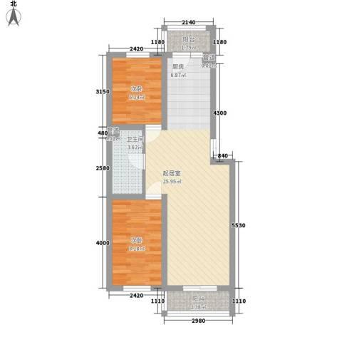 中铁嘉园2室0厅1卫0厨74.00㎡户型图