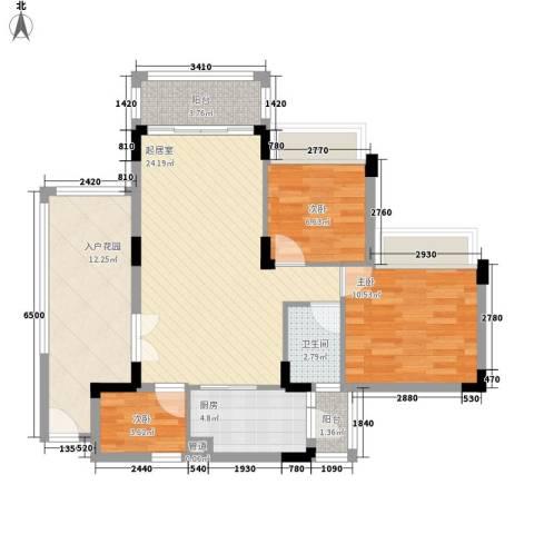 雅居乐雍华廷别墅3室0厅1卫1厨101.00㎡户型图
