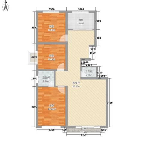 吉塔公寓3室1厅2卫1厨113.00㎡户型图