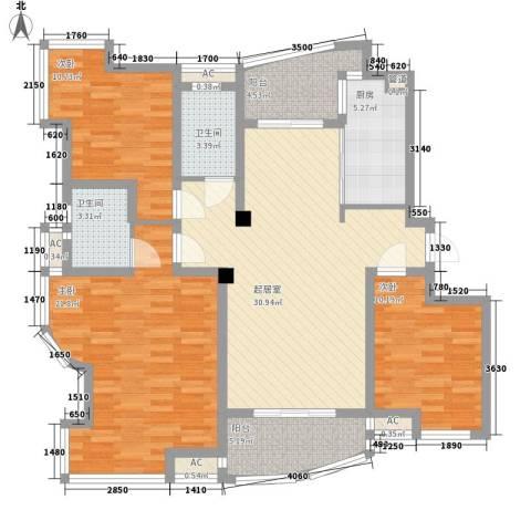 银河湾3室0厅2卫1厨143.00㎡户型图