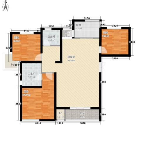 水木清华三期3室0厅2卫1厨140.00㎡户型图